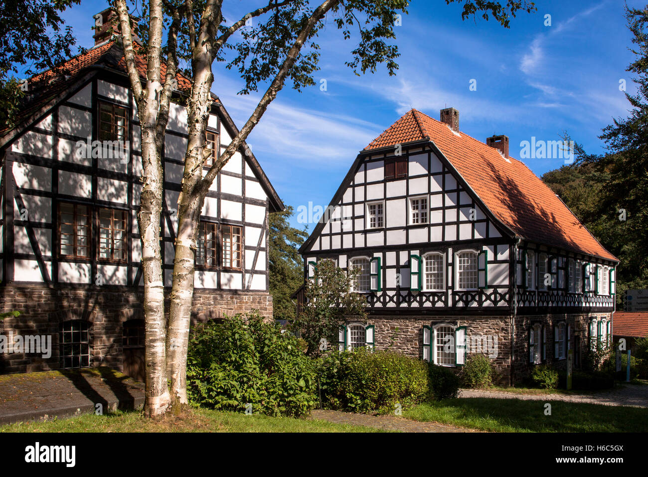 Germany, Hagen, Hagen Open-air Museum, paper mill and printing office. Stock Photo