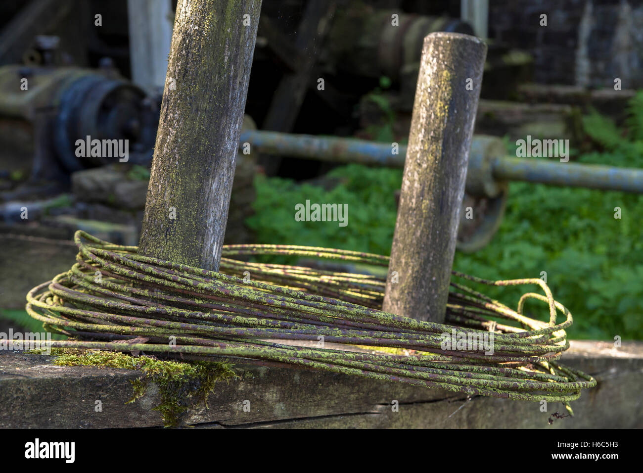 Germany, Hagen, Hagen Open-air Museum, copper rust on wire in front of a wire-drawing mill. Stock Photo