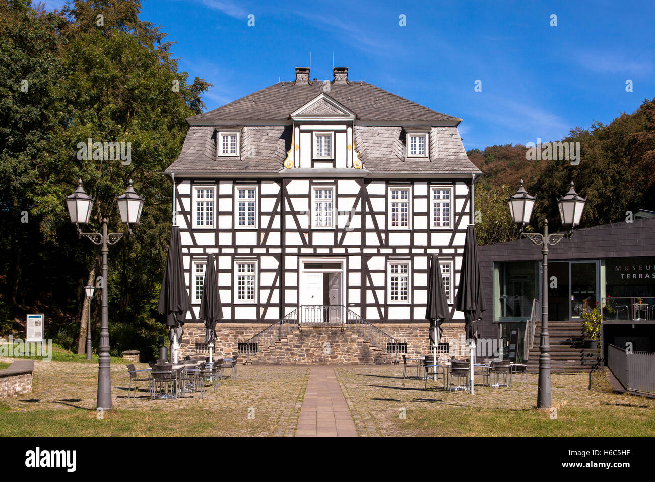 Germany, Hagen, Hagen Open-air Museum, half-timbered house, this building is home of the German Wrought Museum. Stock Photo