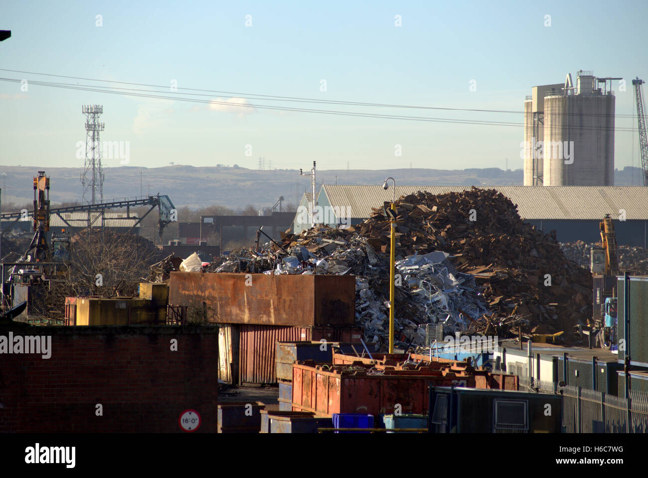 scrap yard  south street  Whiteinch Glasgow Clydeside site of recent explosion blast preparing scrap for transport - Stock Image