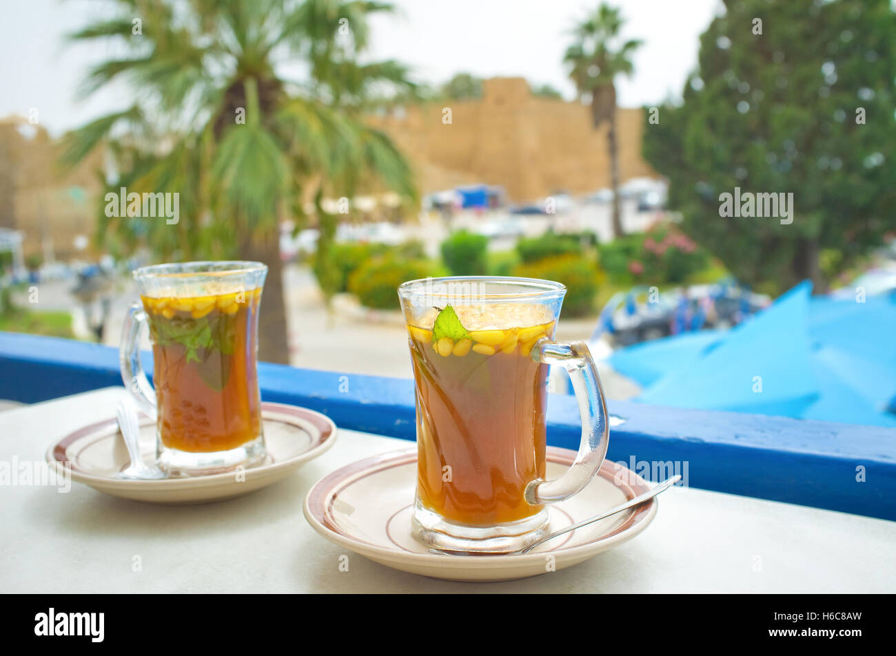 The traditional Tunisian tea with the fresh mint and pine nuts, Hammamet Stock Photo