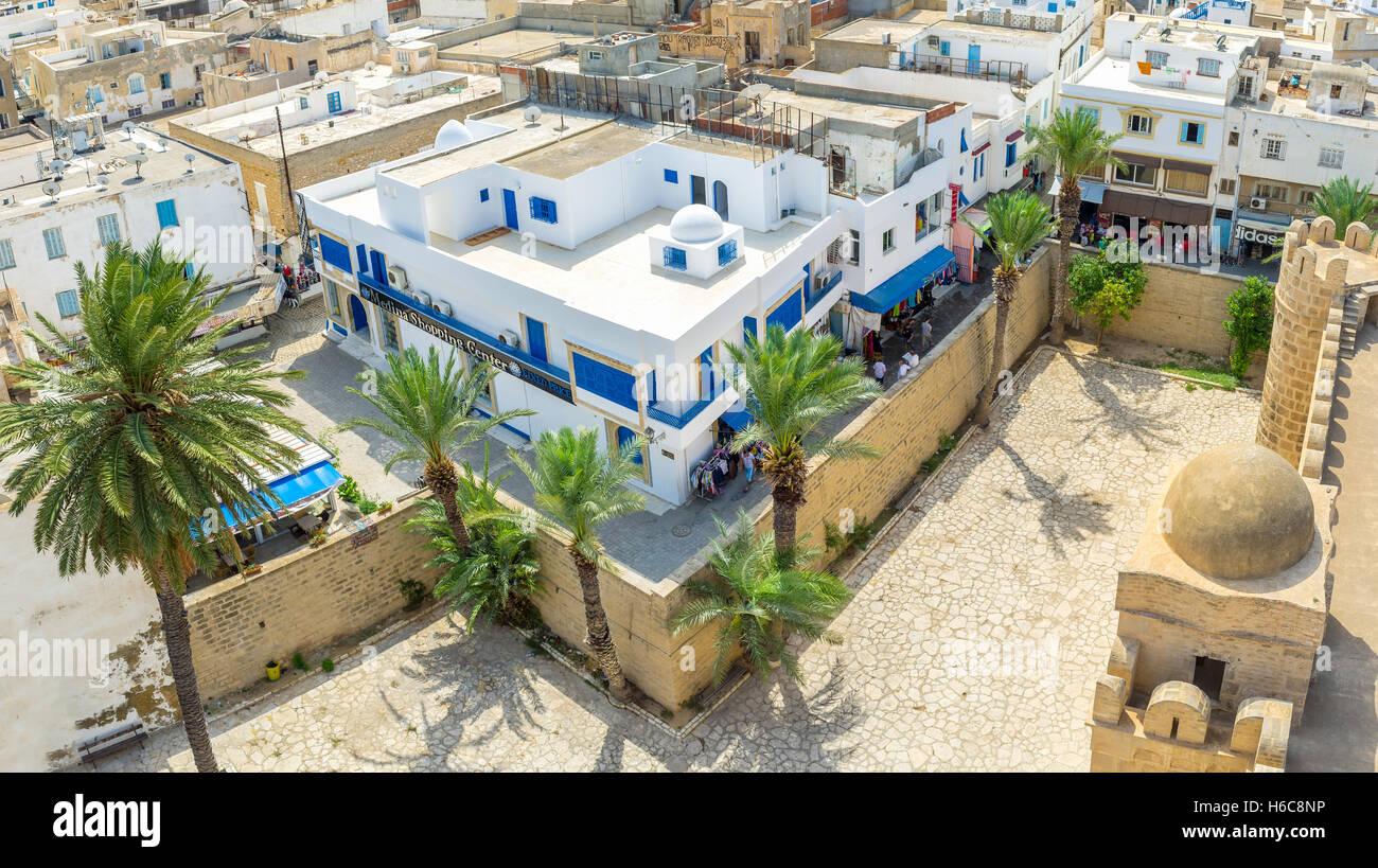 Aerial view of the old walls surrounding Ribat fortress and residential neighborhood Stock Photo