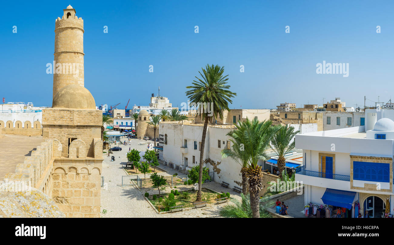 The walls of Ribat overlooks the old town and the mediterranean coast - Stock Image