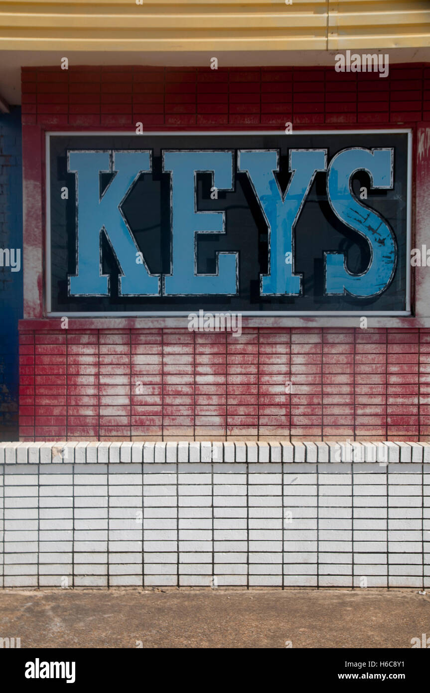 Locksmith store front Dallas, Texas USA - Stock Image