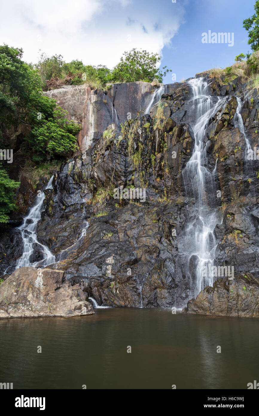 Low water flow at the main fall of the Silvermine Waterfalls on the Lantau Island in Hong Kong, China. - Stock Image