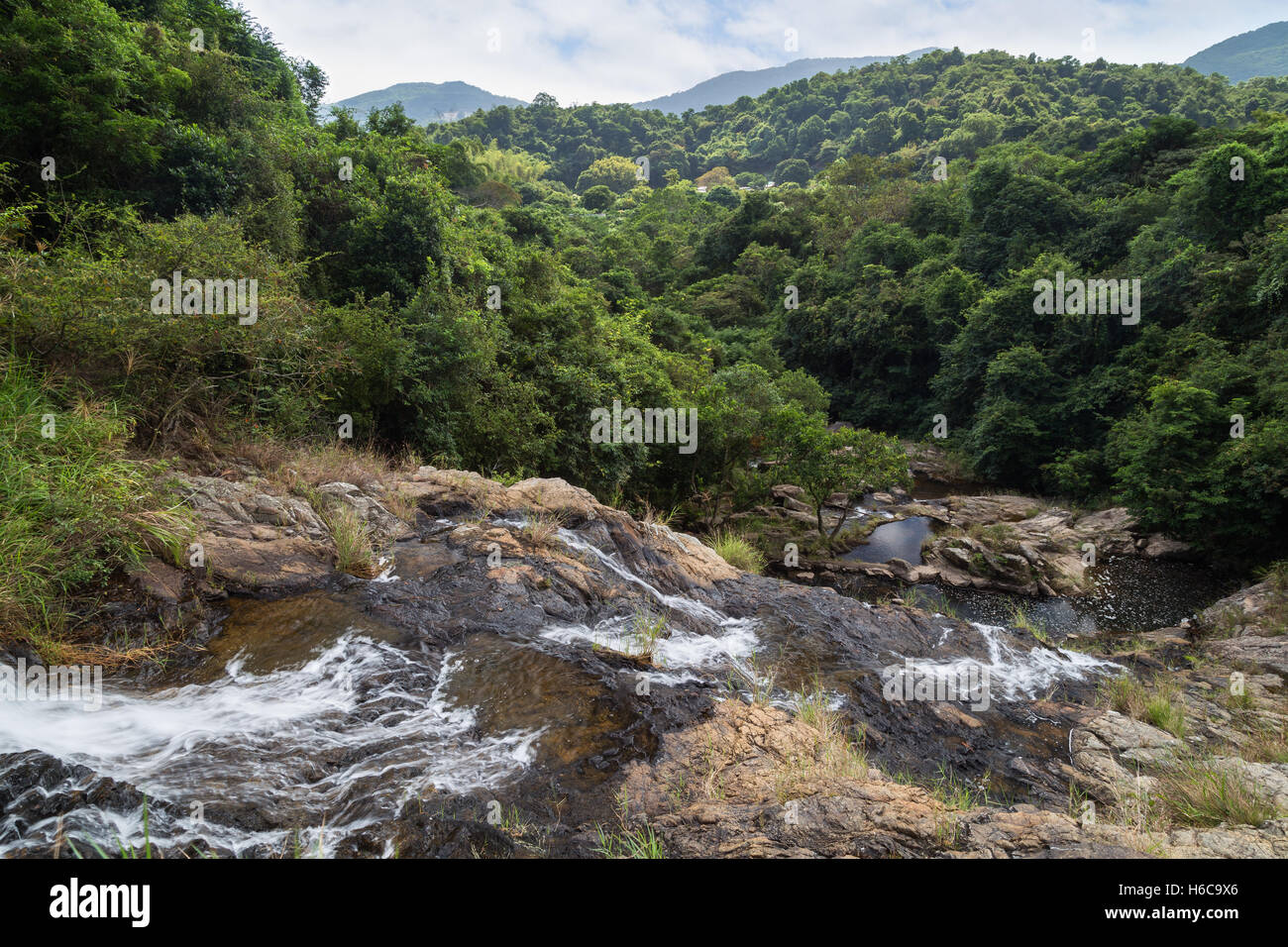 Scenic landscape of and from the Silvermine Waterfalls on the Lantau Island in Hong Kong, China. - Stock Image