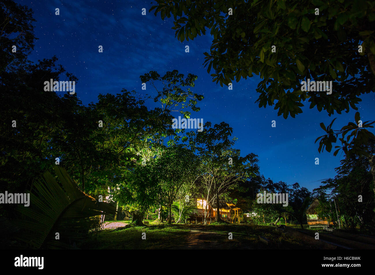 An Ayahuasca shipibo plant medicine Healing center in the Peruvian Amazon rainforest at night. - Stock Image