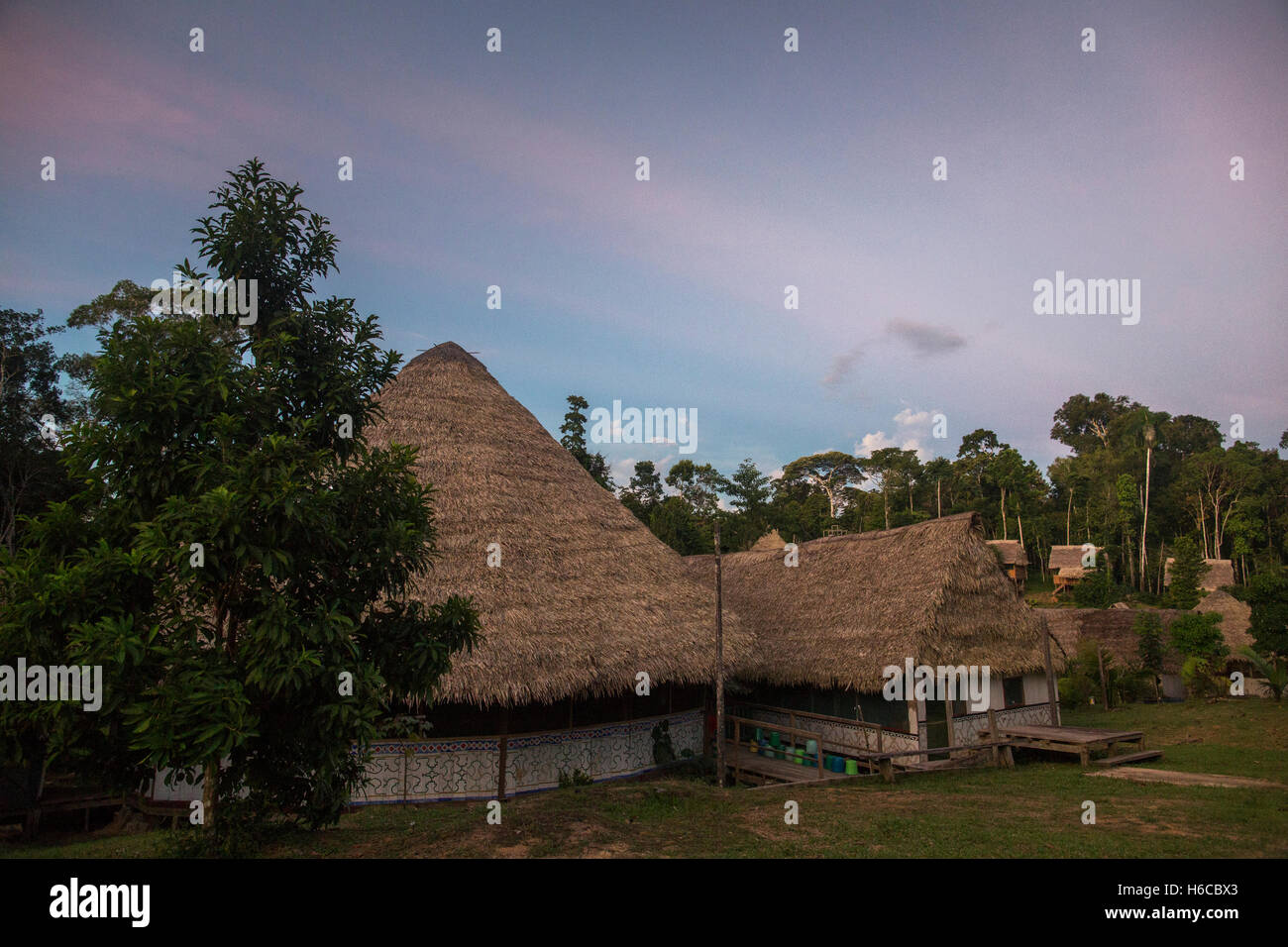 An Ayahuasca medicine Healing center and Maloca in the Peruvian Amazon rainforest in a jungle clearing at dusk near - Stock Image