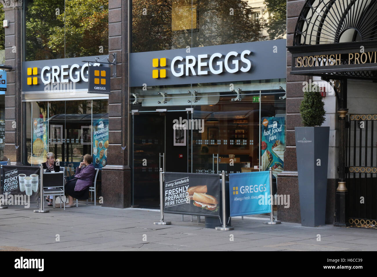 Greggs shop in Donegall Square West, Belfast, Northern Ireland. - Stock Image
