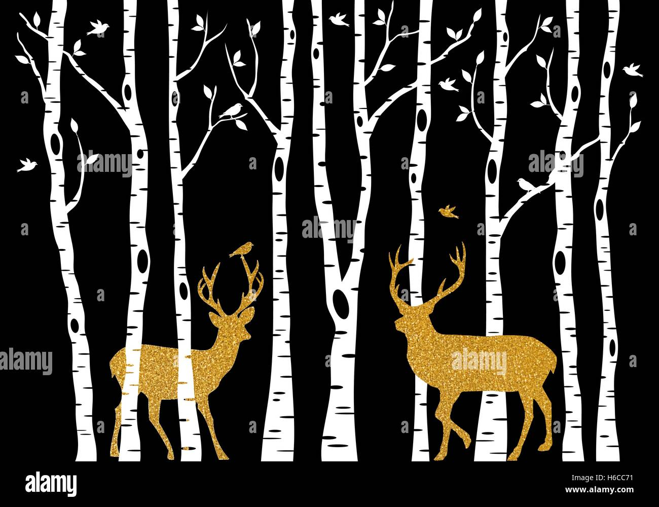 Christmas card with golden reindeer and birch trees forest on black background, vector illustration - Stock Image