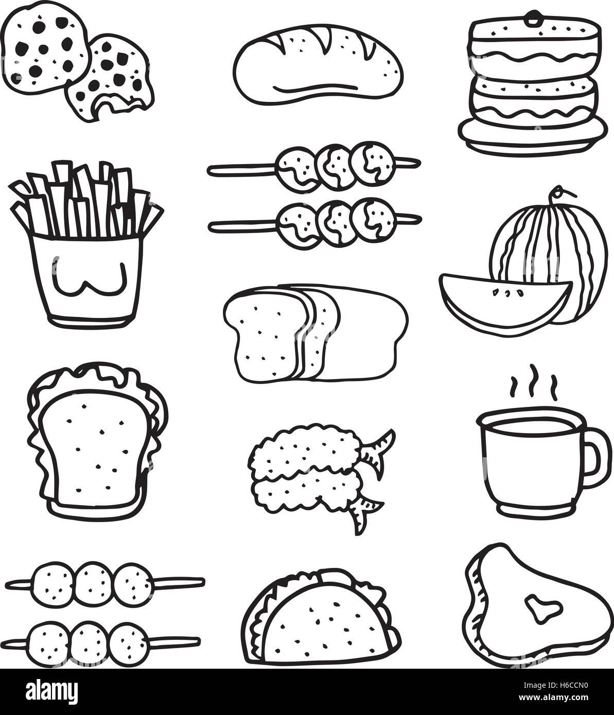 Doodle Of Food Set Hand Draw Vector Art Stock Vector Art