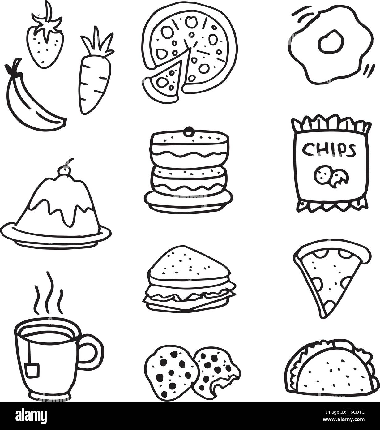 doodle of food and drink hand draw vector art stock vector art Easy Steps to Draw Food doodle of food and drink hand draw vector art