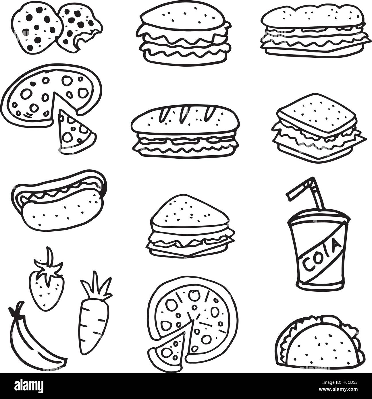 bread doodle doodle of food bread pizza and drink vector art stock 6545
