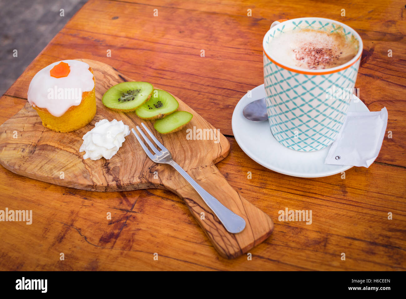 Breakfast with carrot muffin. selective focus - Stock Image