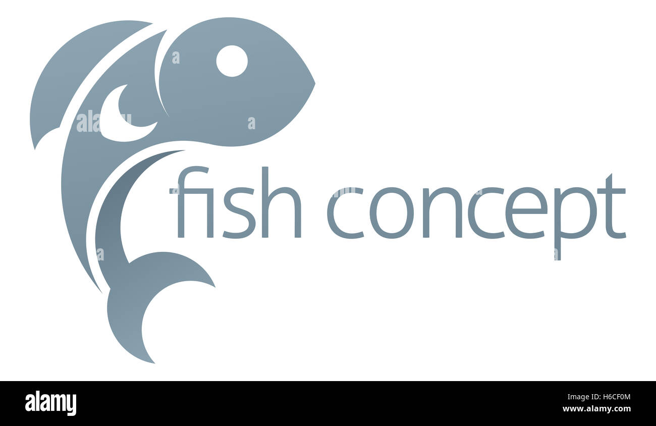 A conceptual illustration of a fish icon with space for text - Stock Image