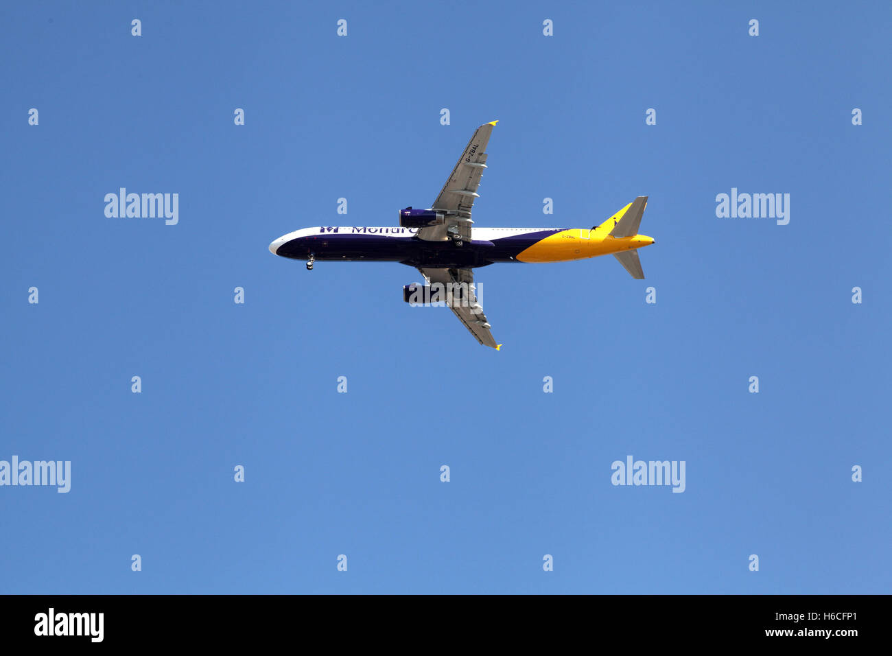 MONARCH AIRLINE British air company plane about to land with tourists to Croatia - Stock Image