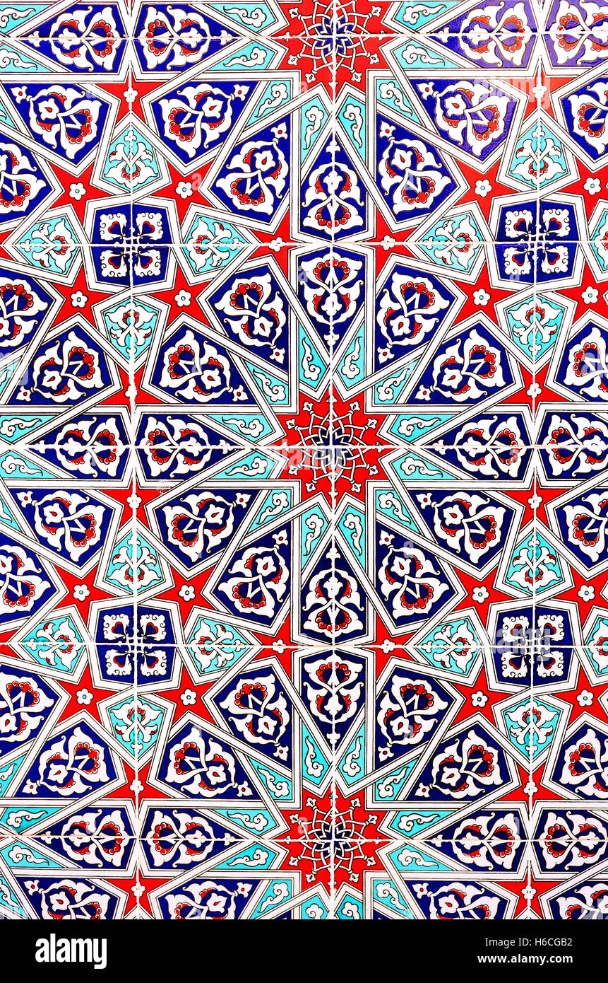 The colorful glazed tiles with the islamic stellar patterns decorated the wall of Military Museum in Konya, Turkey. - Stock Image