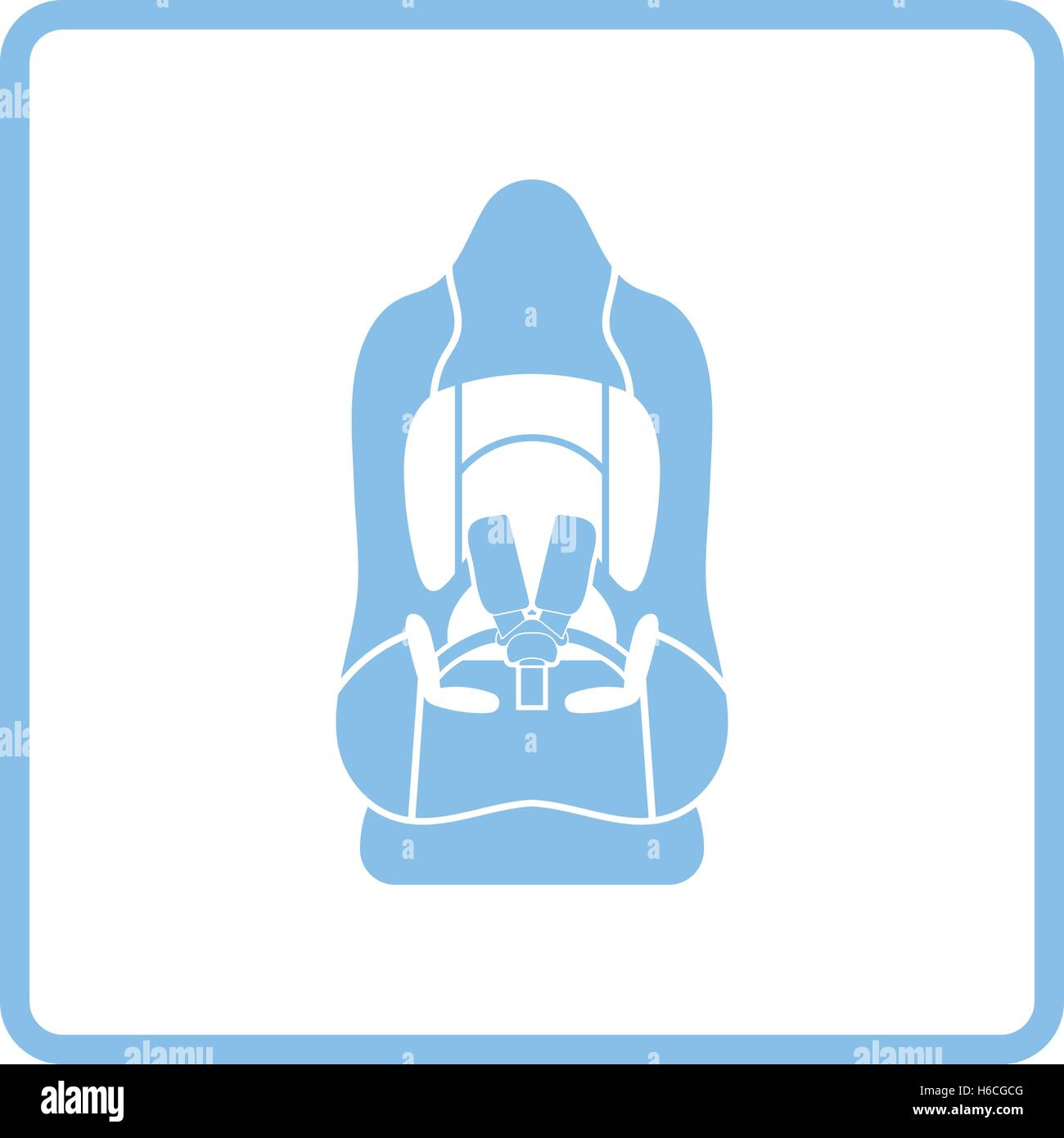 Baby Car Seat Icon Blue Frame Design Vector Illustration Stock