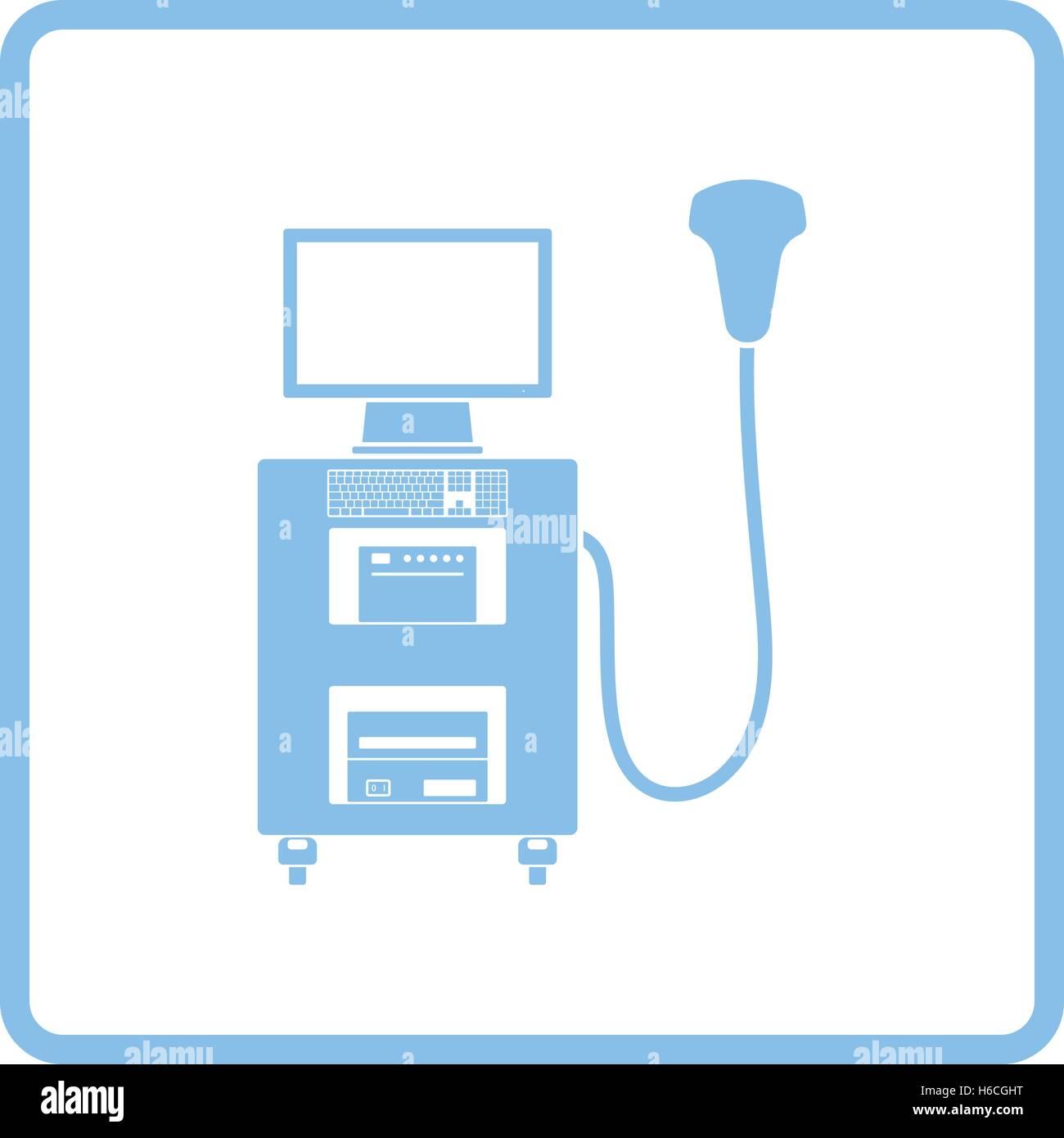 Ultrasound diagnostic machine icon. Blue frame design. Vector Stock ...