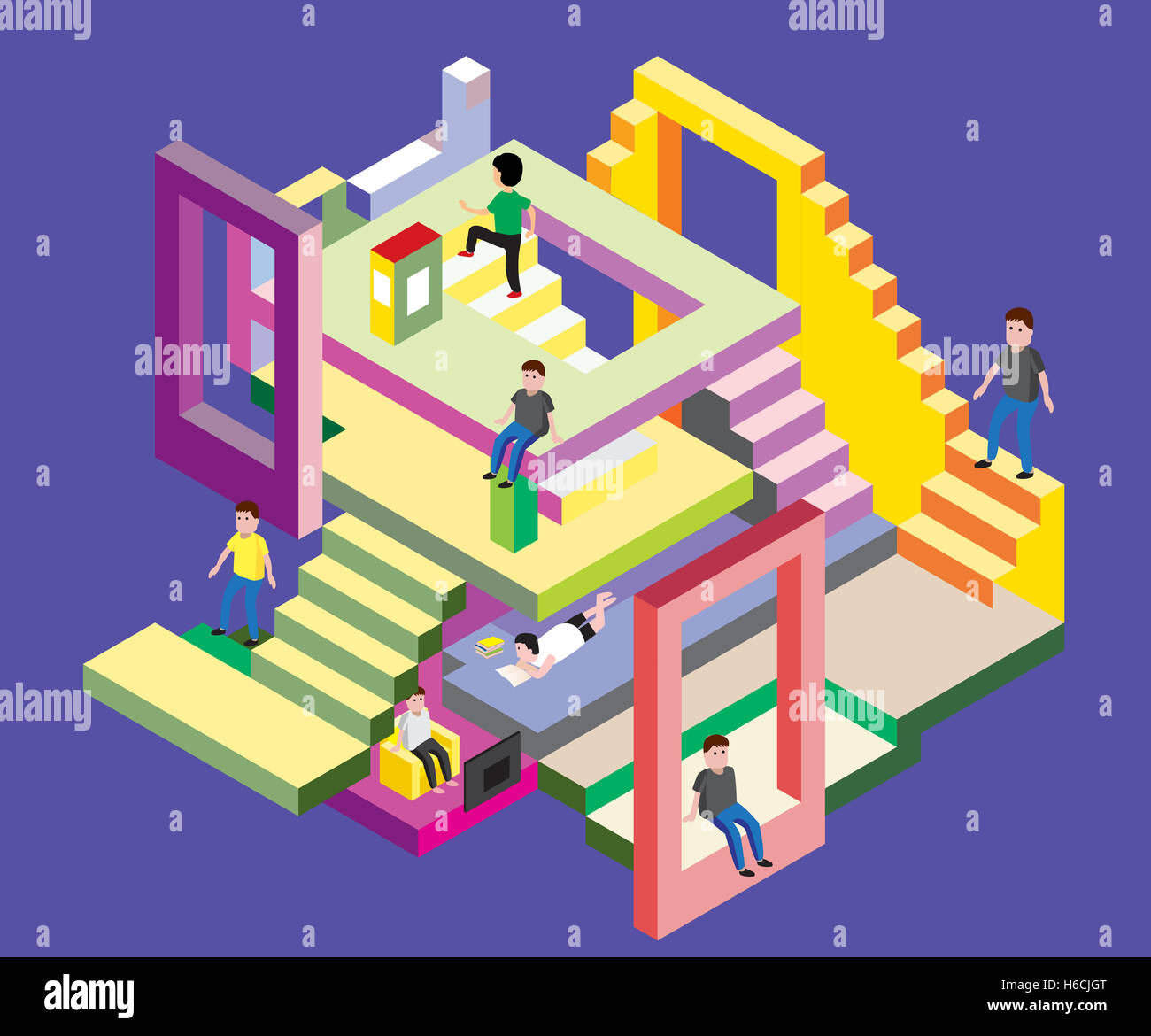Isometric man in levels, Vector Illustration - Stock Image