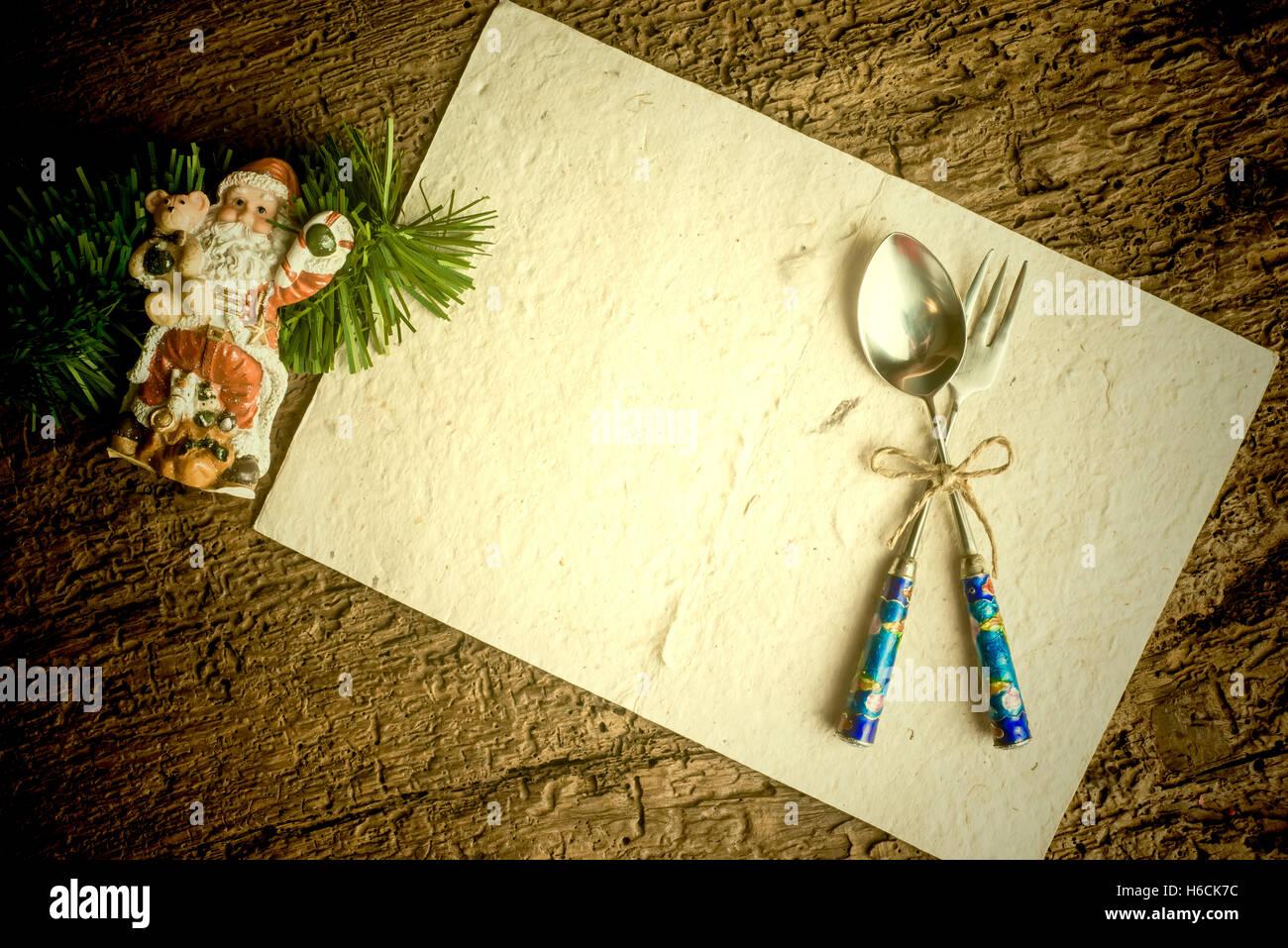 Christmas menu background card, christmas decoration and vintage set ...