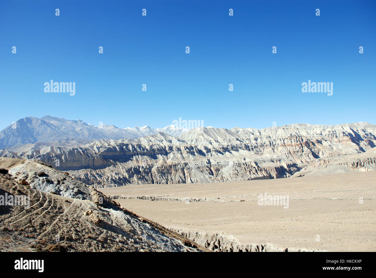 The Barren mountain landscape of the remote Damodar Himal in the Mustang region of Nepal an area first visited by - Stock Image