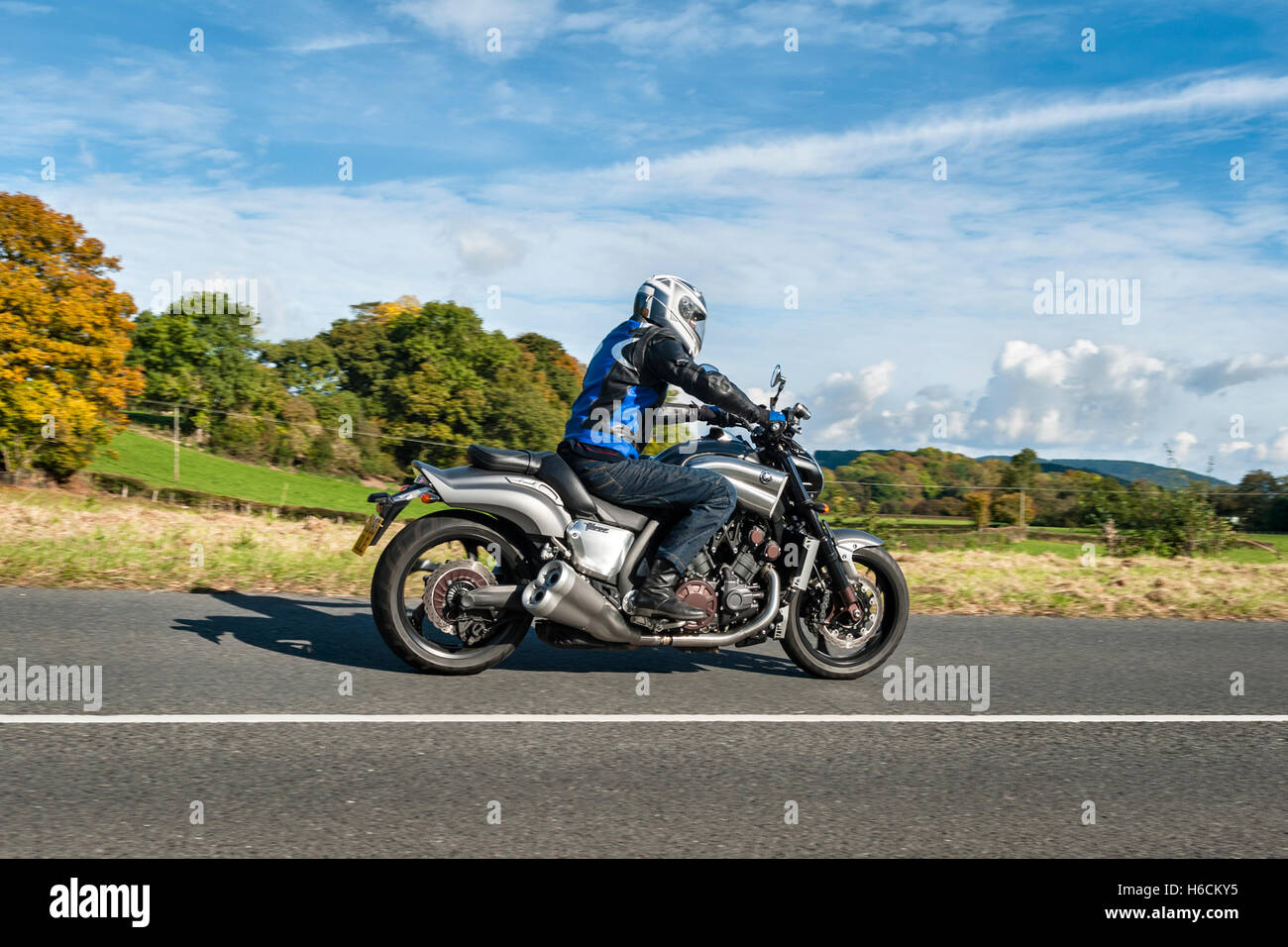 UK. Road testing the new 2016 Yamaha VMAX motorcycle, with a 4-cylinder liquid cooled 1679cc V4 engine - Stock Image