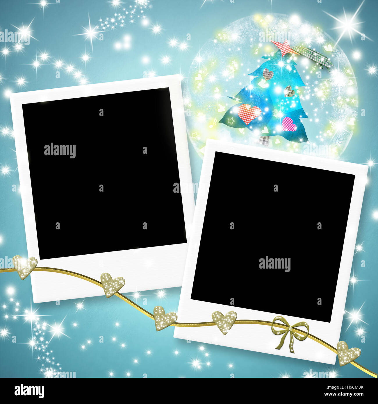 Christmas cards photo frames, two instant photo frames and christmas ...