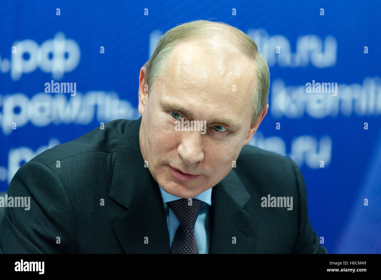Saint Petersburg, Russia - November 22 2013.  President of the Russian Federation Vladimir  Putin during his visit - Stock Image