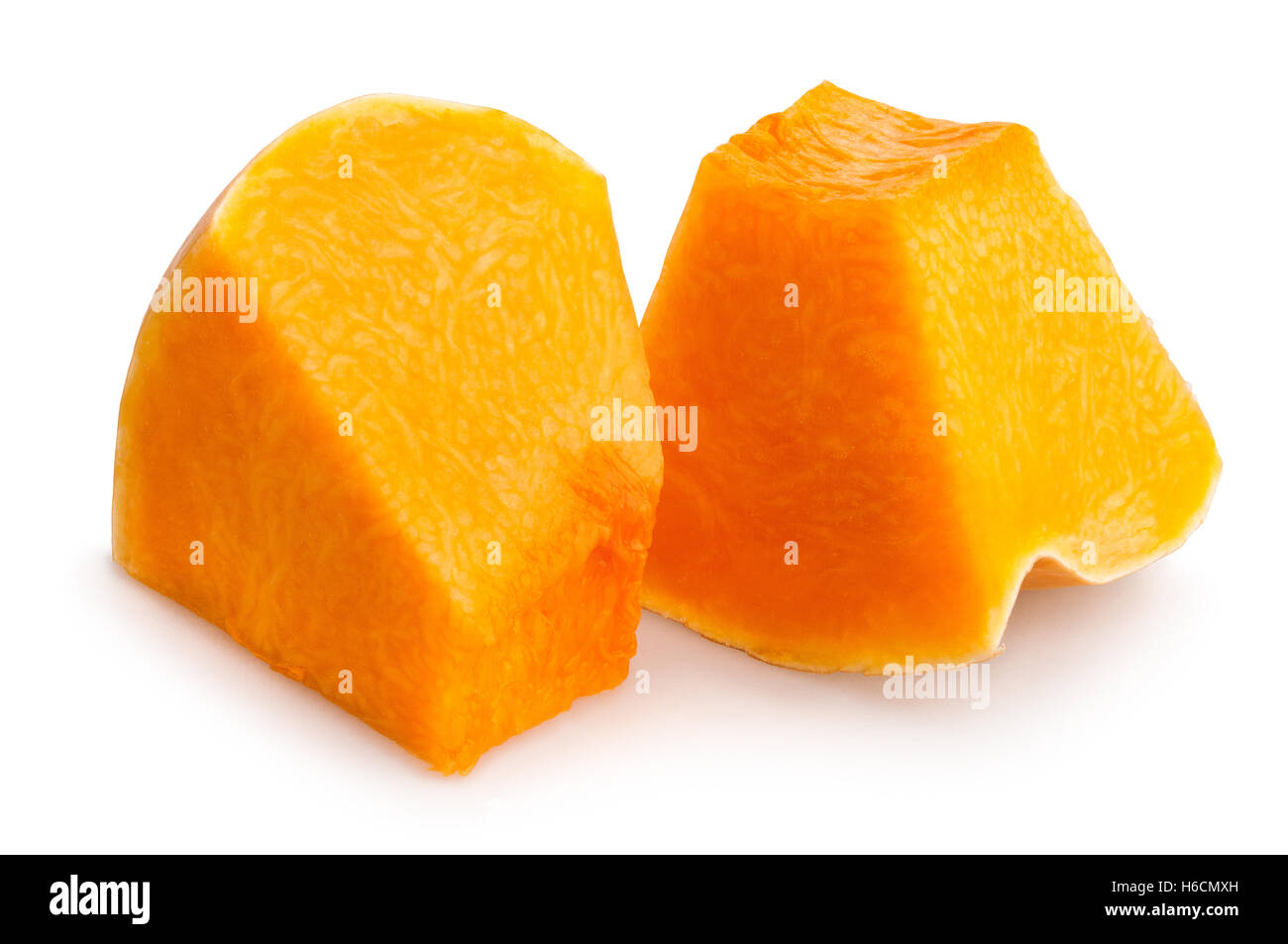 sliced pumpkin chunks isolated Stock Photo