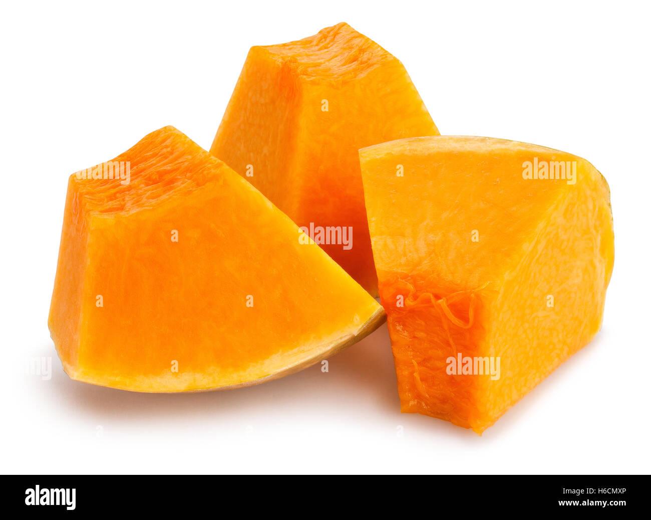 sliced pumpkin chunks isolated Stock Photo