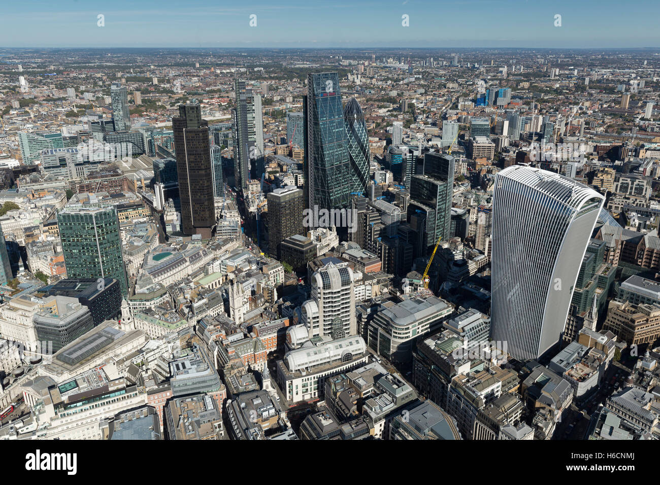The tall buildings in The City of London, Moorgate. - Stock Image