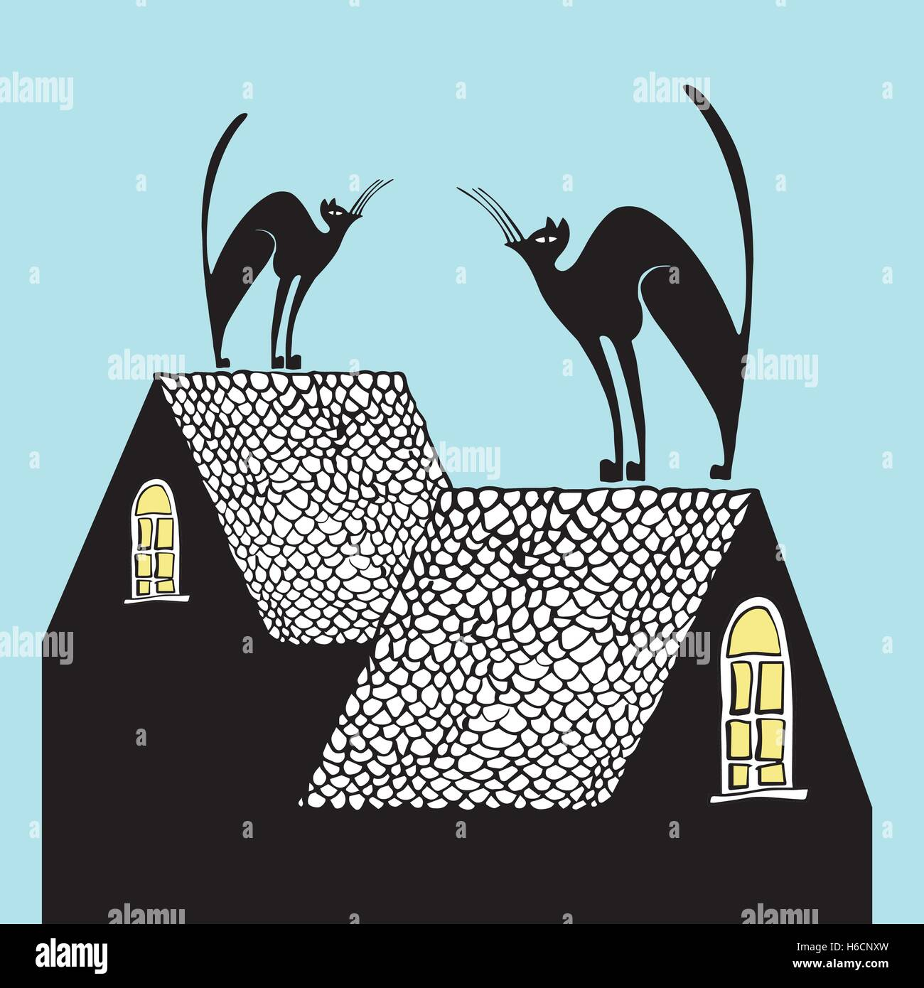 Hand drawn illustration black cats on the roofs - Stock Vector
