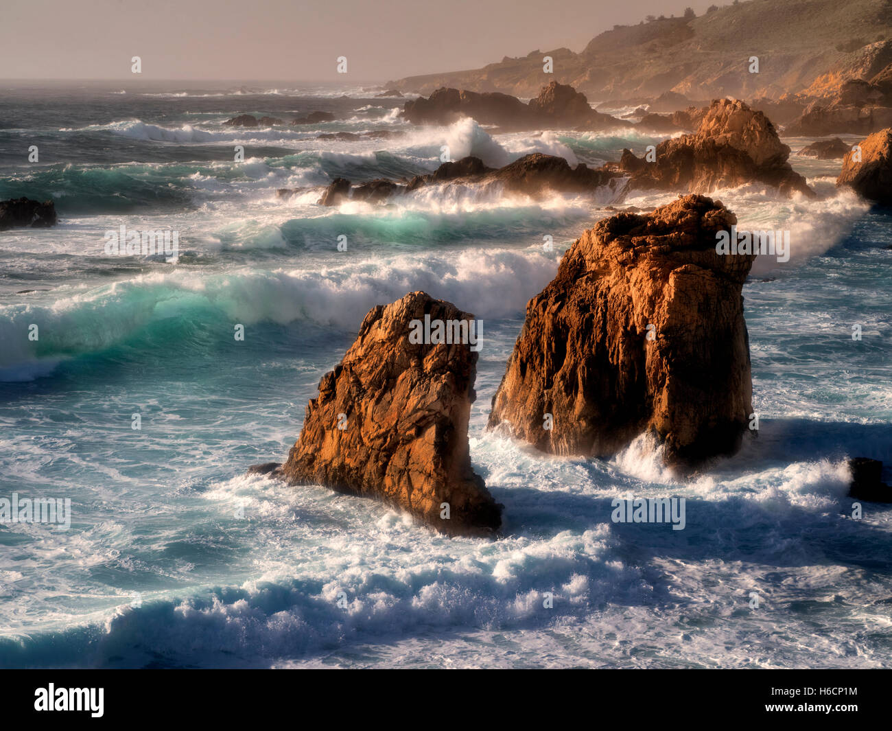 Waves, and shoreline at sunset. Garrapata State Park, California - Stock Image