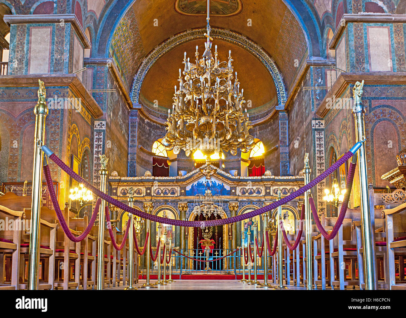 The Interior Of Hagia Sophia Church With Impressive Iconostasis, Plain Gold  Mosaics In The Apse
