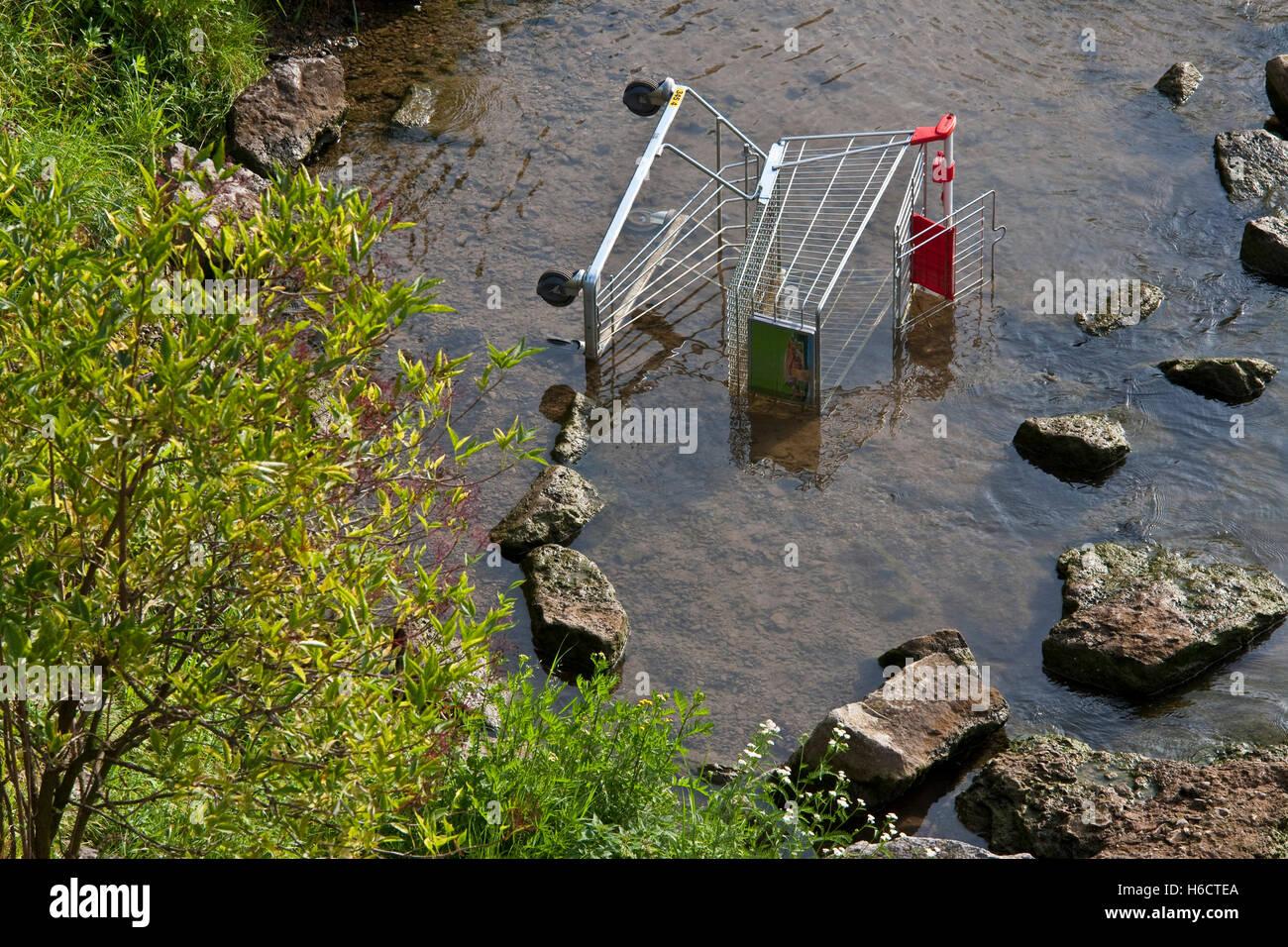 Shopping cart in the Neckar river, discarded, vandalism, destruction, environment, Stuttgart, Baden-Wuerttemberg, - Stock Image