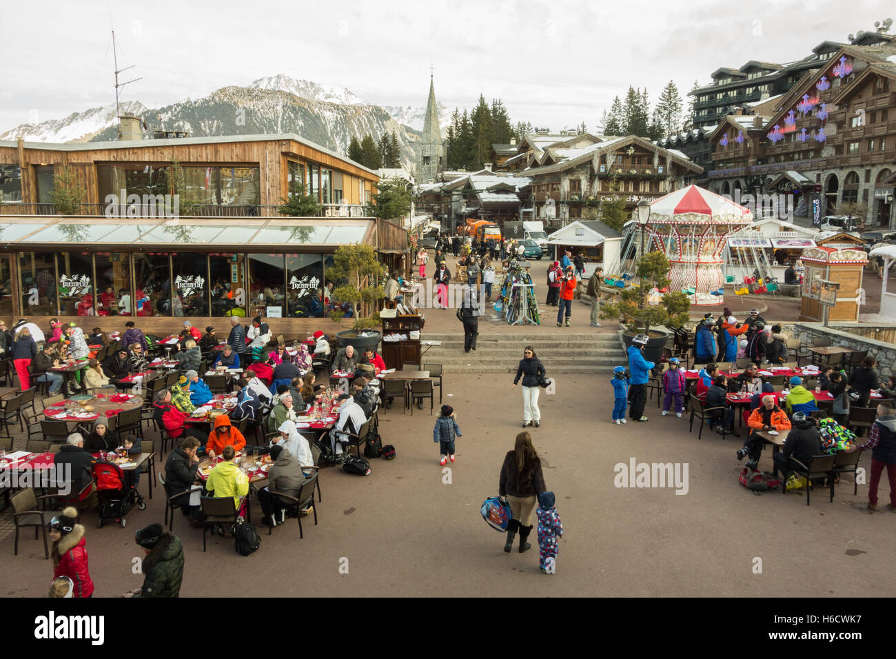 Courchevel 1850 centre with lack of snow during ski season - Stock Image