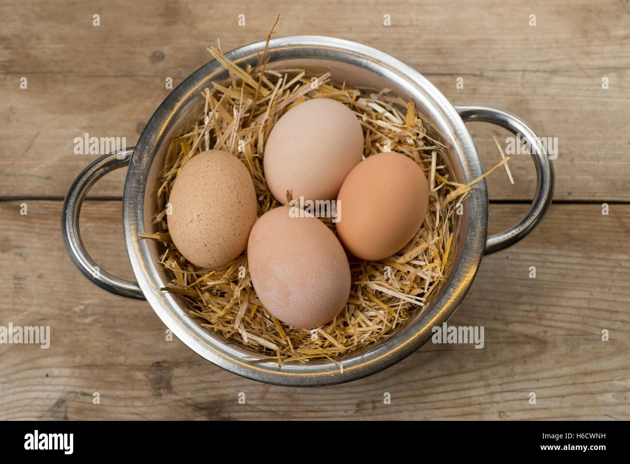 Freash home produced free range chickens eggs. - Stock Image