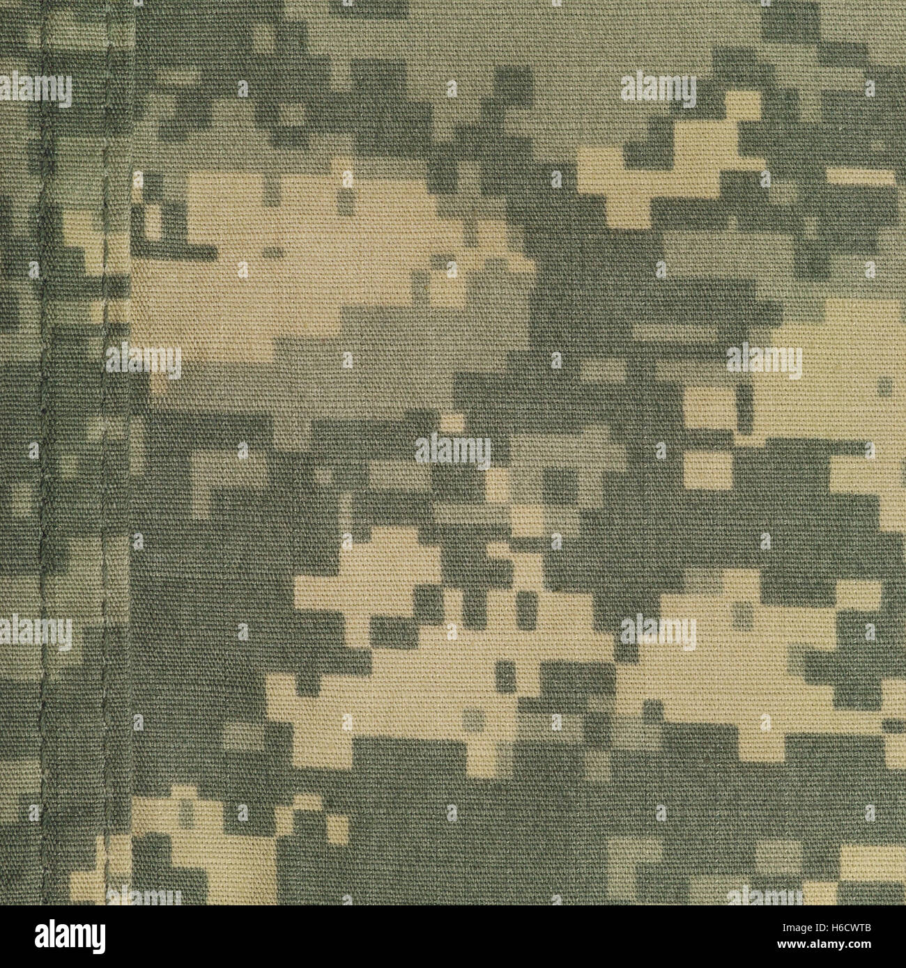Universal camouflage pattern, army combat uniform digital camo, double thread seam, USA military ACU macro closeup, - Stock Image