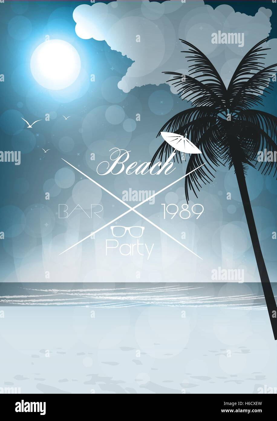 Night Seaside View Party Poster - Vector Illustration Stock Vector