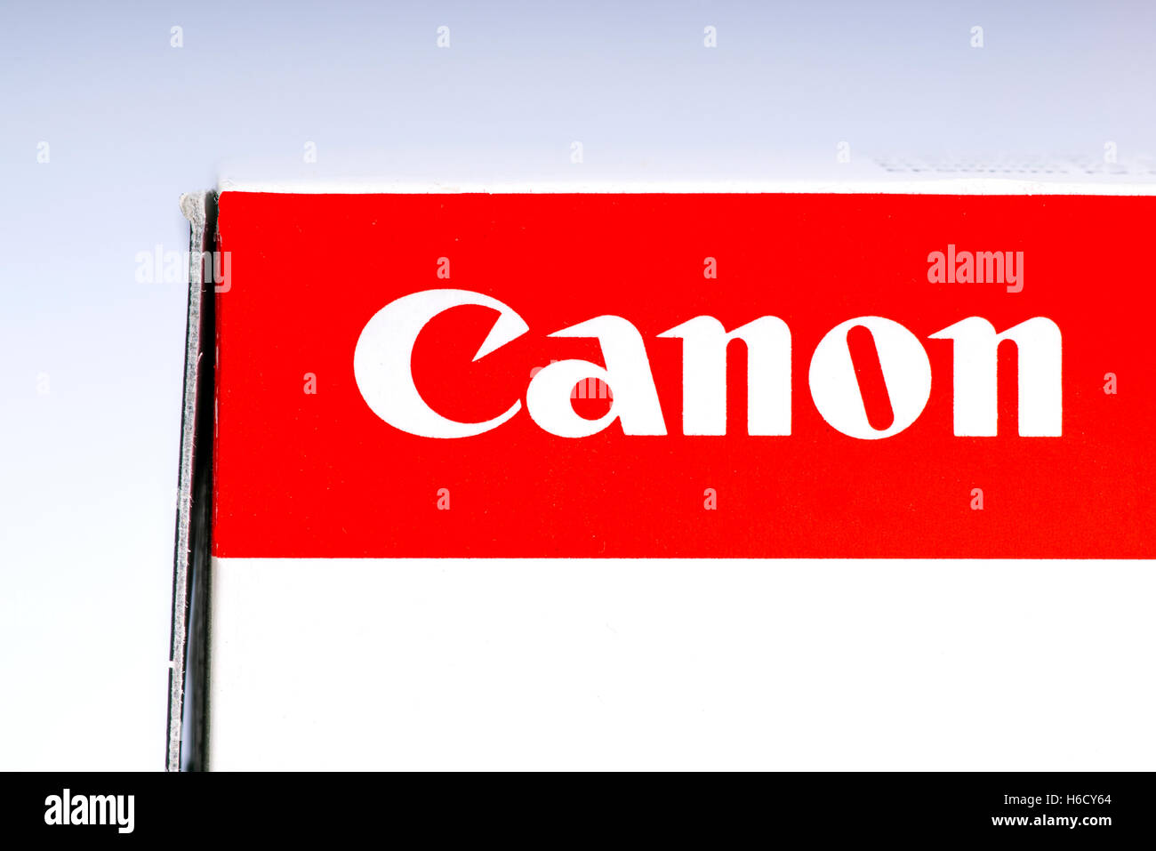 LONDON, UK - OCTOBER 21ST 2016: A close-up shot of the Canon company logo on the packaging of one of their products. - Stock Image