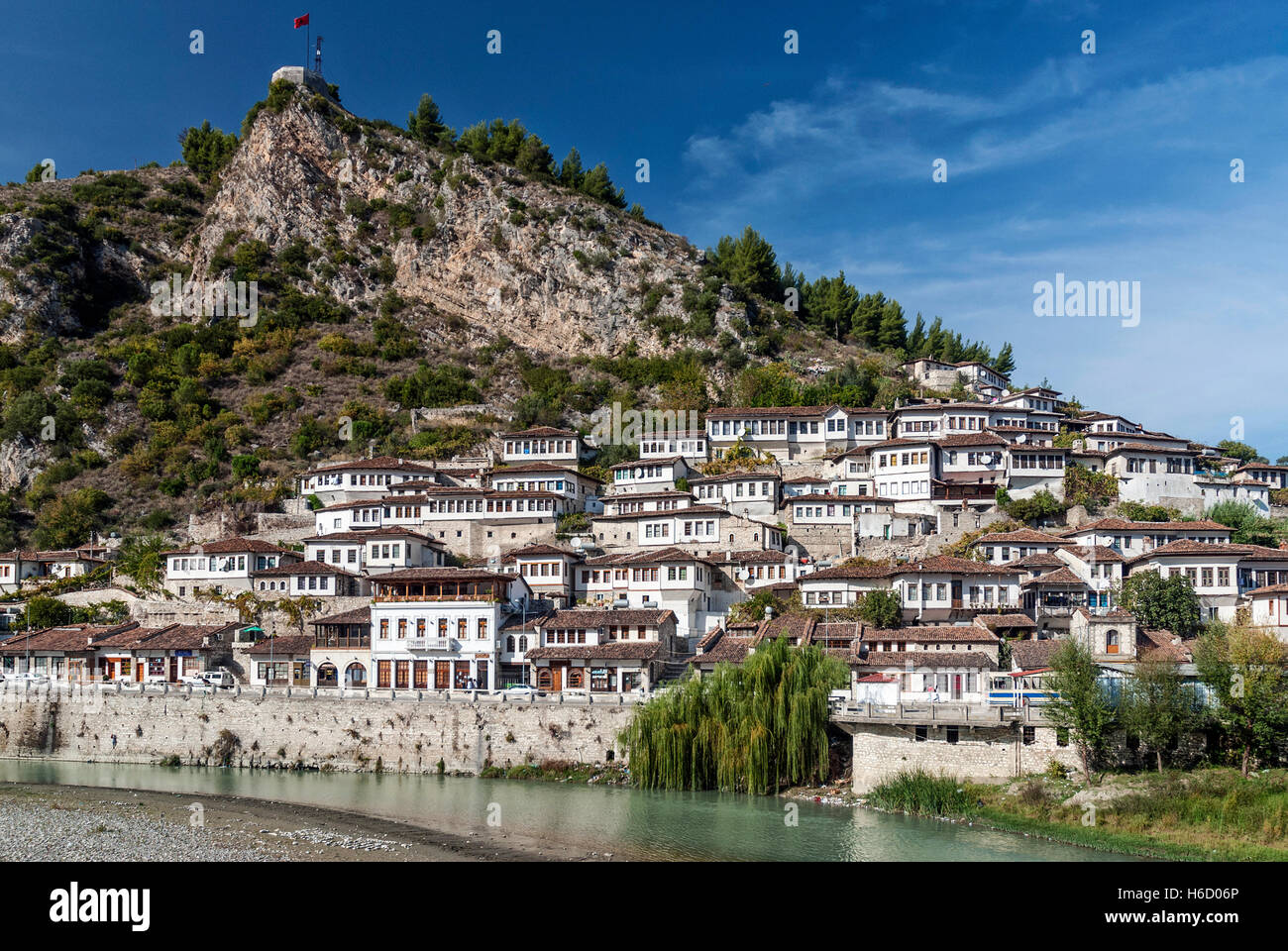 traditional balkan houses in historic old town of berat albania - Stock Image
