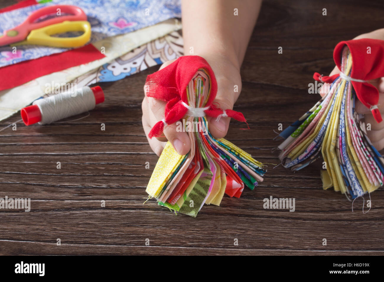 Slavic talisman doll. Russian traditional rag doll handmade. Top view, copy space. Sewing crafts. - Stock Image