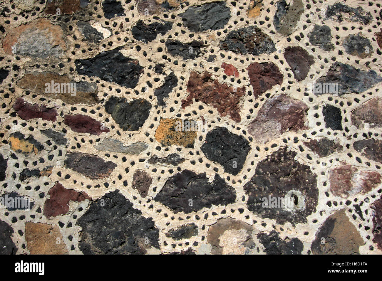 Stones at the wall, pyramid of the moon - Stock Image