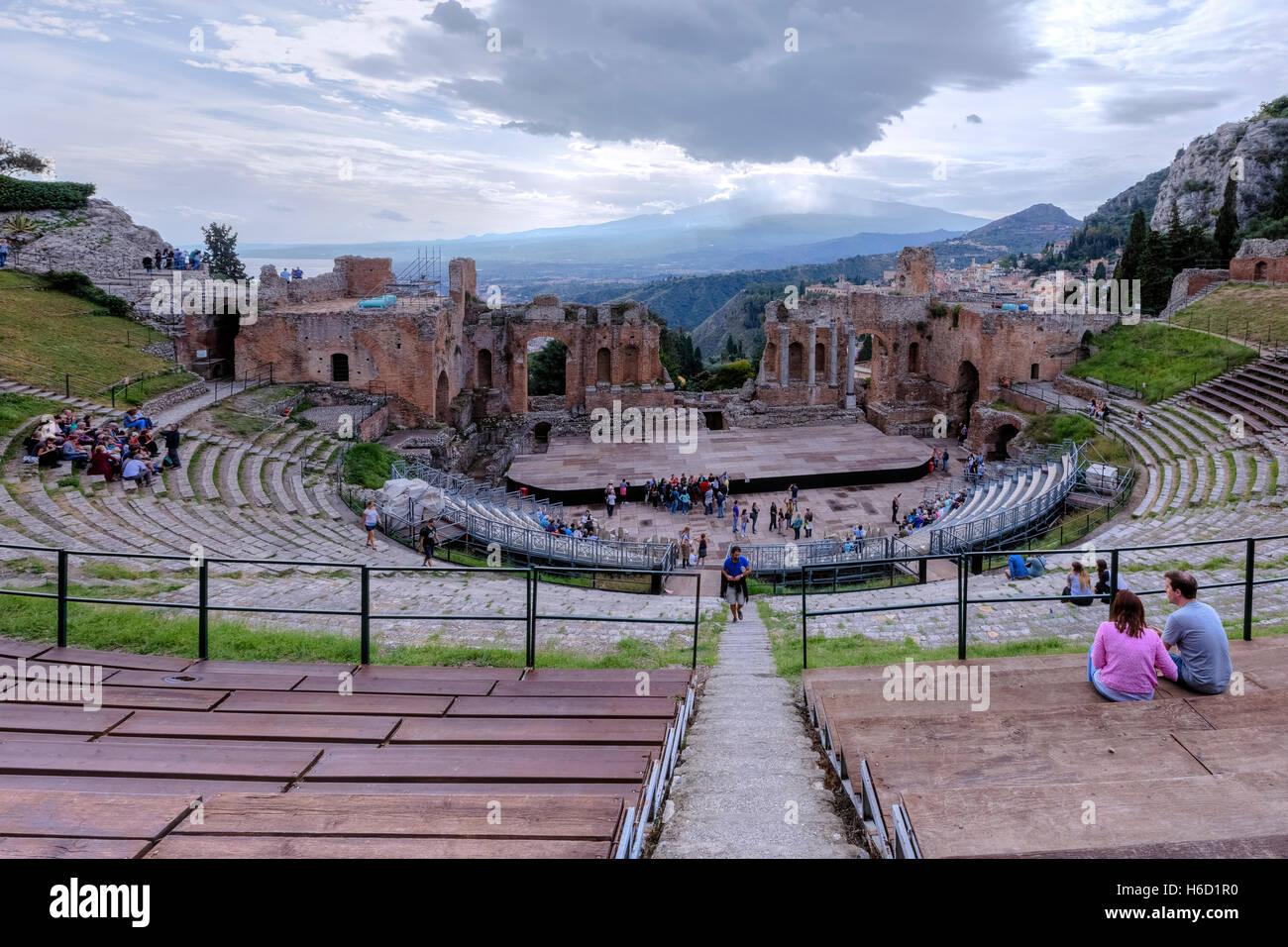 Teatro Greco, Taormina, Sicily, Italy Stock Photo