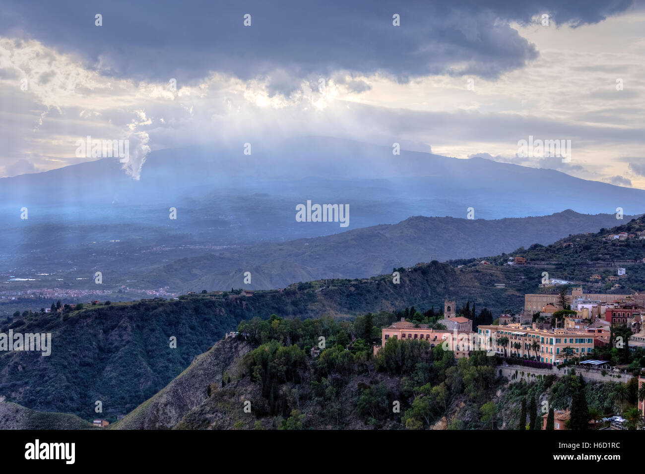 Etna, Taormina, Messina, Sicily, Italy - Stock Image