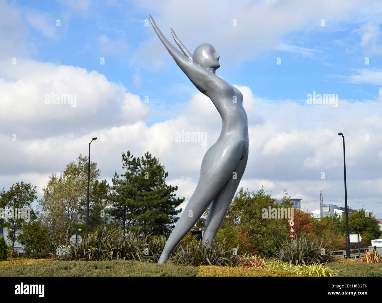 A bronze statue of Athena by artist Nasser Azam near the London City Airport in Silvertown, east London - Stock Image