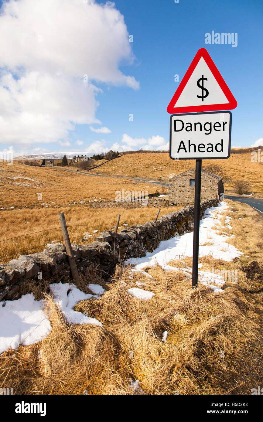 $ dollar dropping rising against other currencies economy exchange danger ahead sign signs worry about $ exchange - Stock Image
