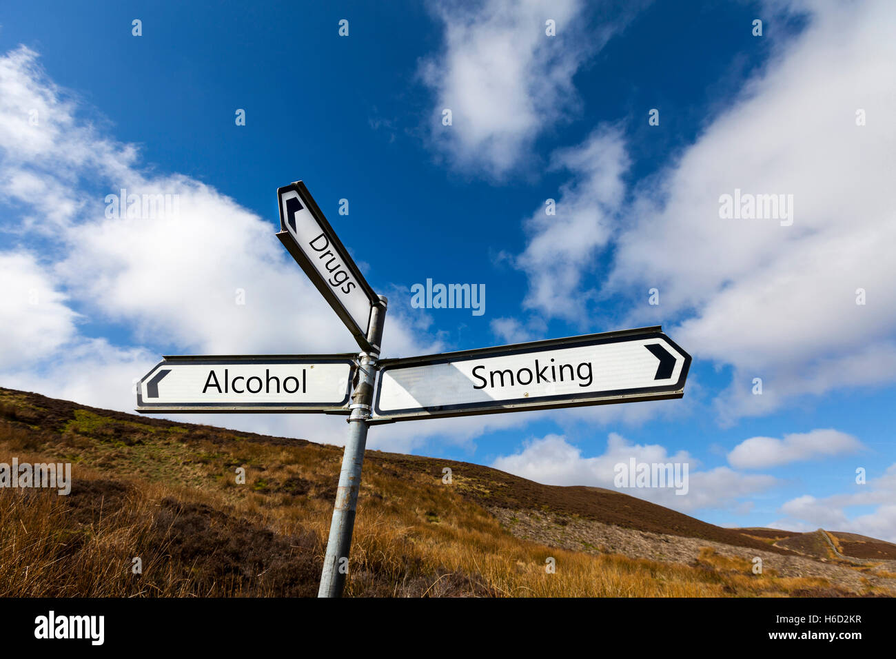 Vices drugs alcohol smoking sign concept vice to give up stop smoking taking drugs drinking alcohol conceptual UK - Stock Image