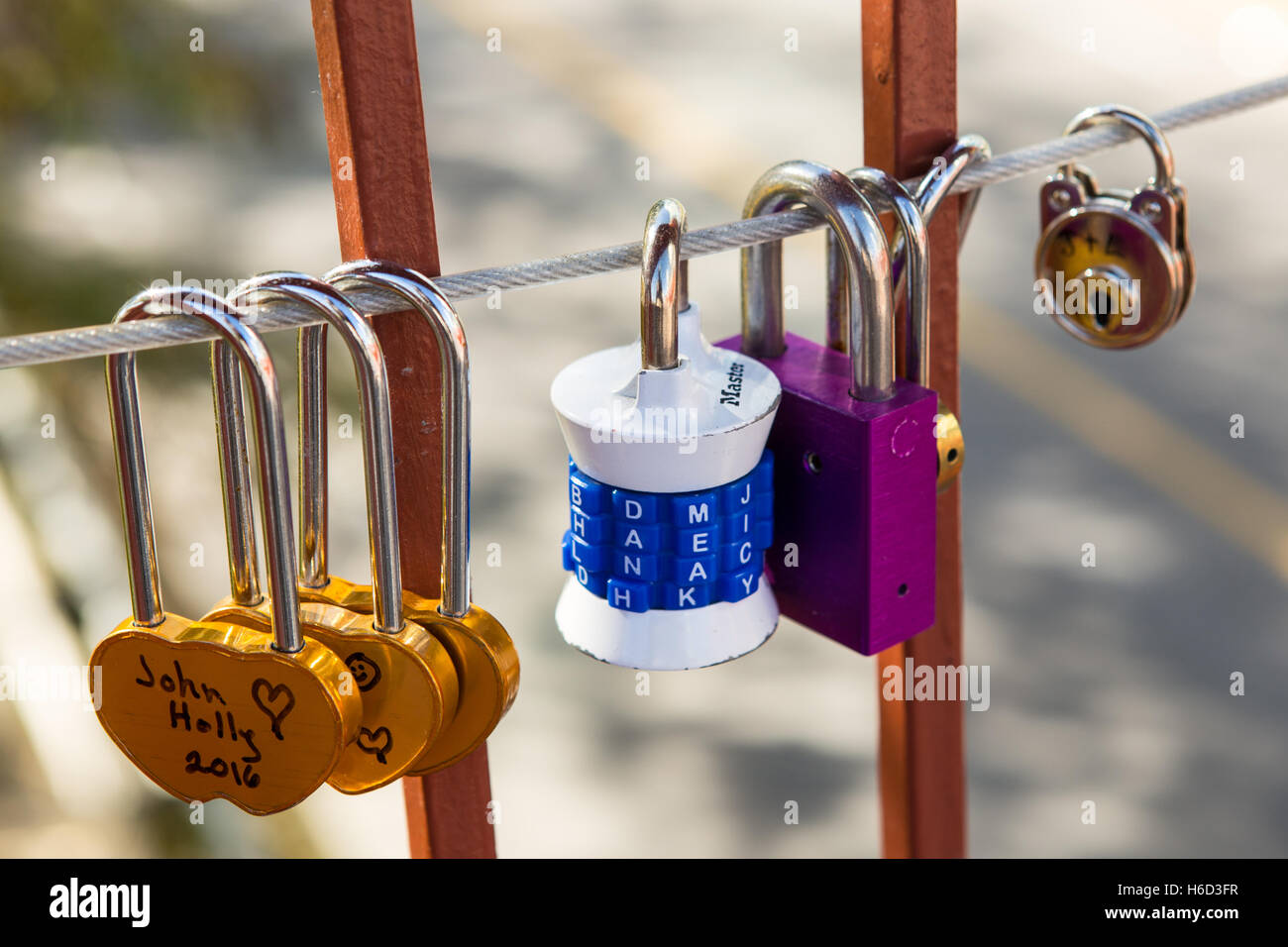 'Love Locks' attached to the Lock Bridge in Niagara Falls, Ontario, Canada - Stock Image